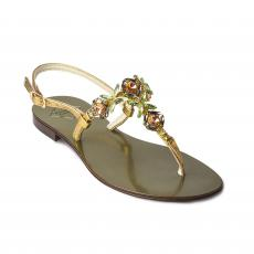 DARK GREEN with Multicolor Crystals Embellished Sandals