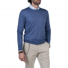 LIMITED EDITION Blue 100%Cashmere Round-Neck Sweater