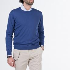 LIMITED EDITION Blue 100%Cotton Round-Neck Sweater
