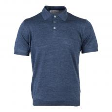 Blue Linen and Silk Polo Shirt