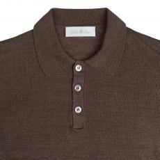 Brown Linen and Silk Polo Shirt