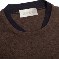 Brown Wool&Cashmere Double Round-Neck Pullover