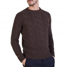 Brown Woven 100%Cashmere Round Neck Pullover