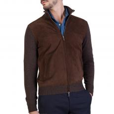 Dark Brown Cashmere and Buckskin Jacket