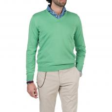 LIMITED EDITION Green 100%Cotton V-Neck Sweater