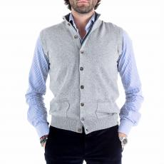 Light Grey Wool&Cashmere Roll-Neck Gilet