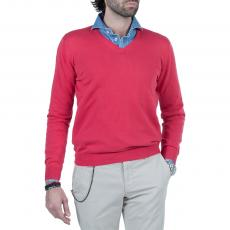 LIMITED EDITION Red 100%Cotton V-Neck Sweater