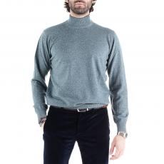 Melange Petrol Green Wool&Cashmere Roll-Neck Pullover