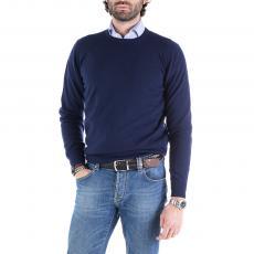 Blue Wool&Cashmere Round-Neck Pullover