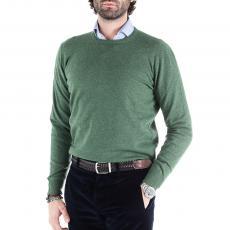 Green Wool&Cashmere Round-Neck Pullover