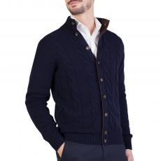Blue Woven Wool&Cashmere Cardigan