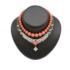 BETTIE Rose Gold Plated necklace with coral pearls, clear and green crystals
