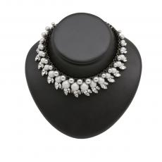 COLETTE Ruthenium Plated Necklace with white crystals and double grey pearls