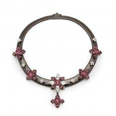 GRETA Ruthenium Plated Collar Necklace with antic pink and clear crystals
