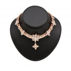 GRETA Rose Gold Plated Collar Necklace with rose gold and clear crystals