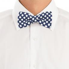 Blue with White Big Pois Silk and Cotton Bow Tie