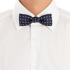 Navy Blue with White Pois Pure Silk Bow Tie