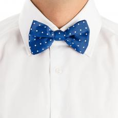 Ocean Blue with White Pois Cotton and Silk Bow Tie