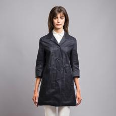 Black Laser Tape Linen Trench