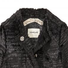 Black Seam Taped Eco Fur Coat