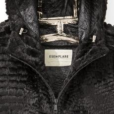 Black Seam Taped Eco Fur Hooded Jacket