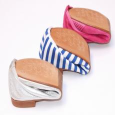 Bicolor Pink/Orange Folding Leather Ballet Flats