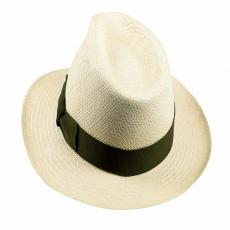 QUITO Classic Toquilla Straw Panama Hat with Green Ribbon