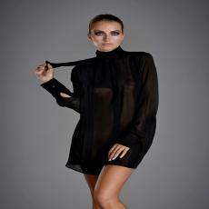 KILLER QUEEN Black Silk Shirt with Bow Collar