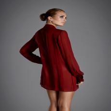 KILLER QUEEN Bright Red Silk Shirt with Bow Collar