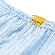 POPELINE Azure with Blue Stripes Boxer Shorts