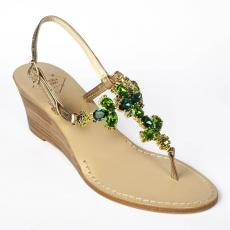 FLOWERS Green Crystal-embellished leather sandals