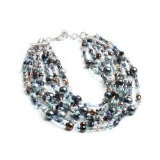 BLUE NIGHT Swarovski, Crystals, Grey Pearls and Pyrite Necklace