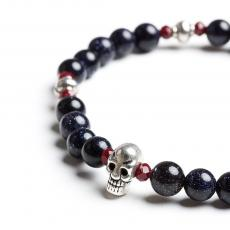 Red Crystals & Blue Heliolite Metal Skull Bracelet
