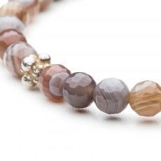 Brown Agate & Silver Bracelet