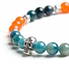 Corniola & Blue Apatite Metal Skull Bracelet