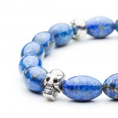 Lapis Lazuli Metal Skull Bracelet