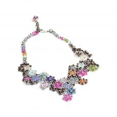 MOSAIC RAINBOW FLOWERS Swarovski and Bohemia Crystals Necklace