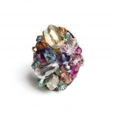 RAINBOW Swarovski,Crystals and Pyrite Ring