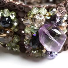 Swarowski, Bohemia Green Crystals, Purple and Citrine Quartz Bracelet