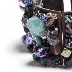 Swarowski, Bohemia Crystals, Acquamarine and Purple Quartz Bracelet