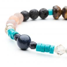 Tiger Eye, Turquoise, Lava, Agate, Sodalite, Swarovski & Silver Bracelet