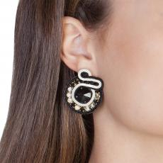 SUN BLACK AND WHITE SOUTACHE EARRINGS