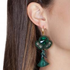 LITTLE ANGEL DARK GREEN SOUTACHE EARRINGS
