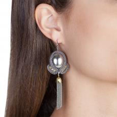 LITTLE ANGEL GREY SOUTACHE EARRINGS