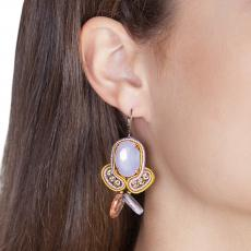 LITTLE ANGEL MUSTARD AND LILLA SOUTACHE EARRINGS