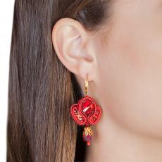 LITTLE ANGEL RED SOUTACHE EARRINGS
