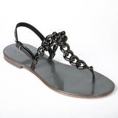 GUNMETAL Chain-embellished leather sandals