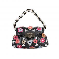 CHERIE Black with Flowers and Stones Leather HandBag