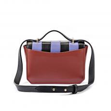 JEWEL BASIC Brick with Black and Purple Stripes Nappa Leather Mini HandBag