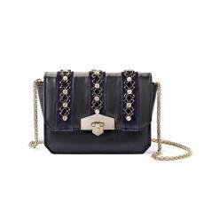 JEWEL VELVET Black with Blue Velvet and Glass Stones Nappa Leather Mini HandBag